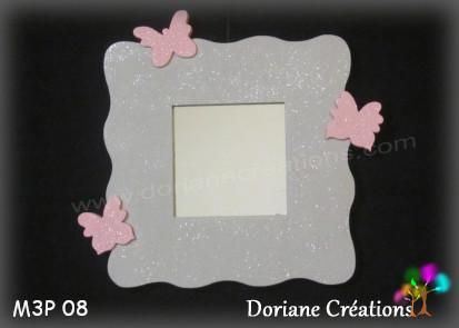 Miroir gris clair 3 papillons rose pastel 08