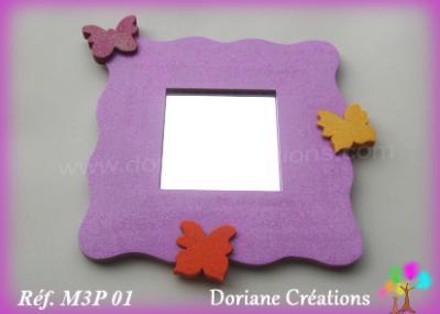 04- Miroir parme 3 papillons multicolores
