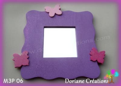 06- Miroir violet 3 papillons tons roses