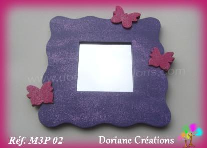 Miroir violet 3 papillons framboise 03