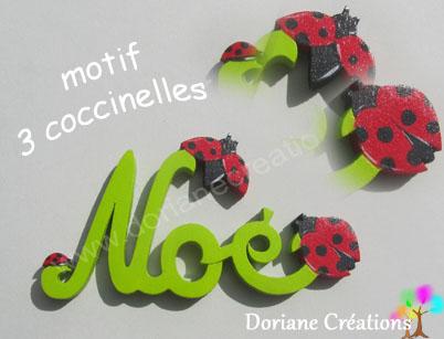 Motif coccinelles pour prenom en bois