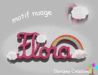 Motif nuage pour prenom en bois