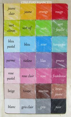 Nuancier des couleurs nuancees pour prenoms en bois