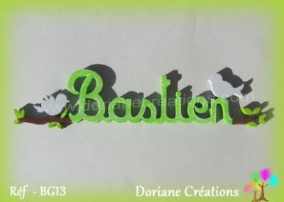 Prénom lettres en bois Bastien