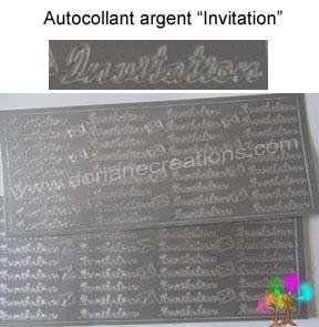 Plaque autocollant argent invitation