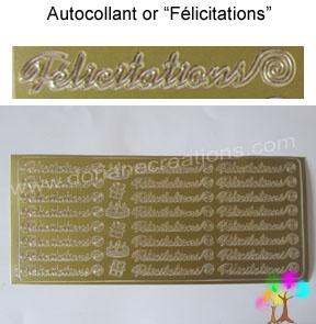 Plaque autocollant or felicitations