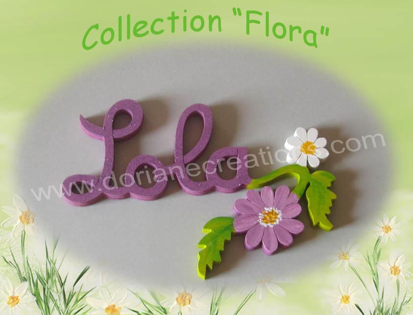 Plaque de porte fleur 4 lettres
