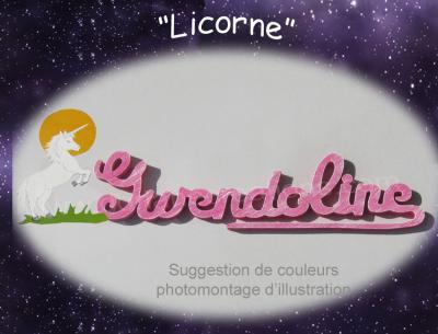 10 lettres - Prénom en bois licorne