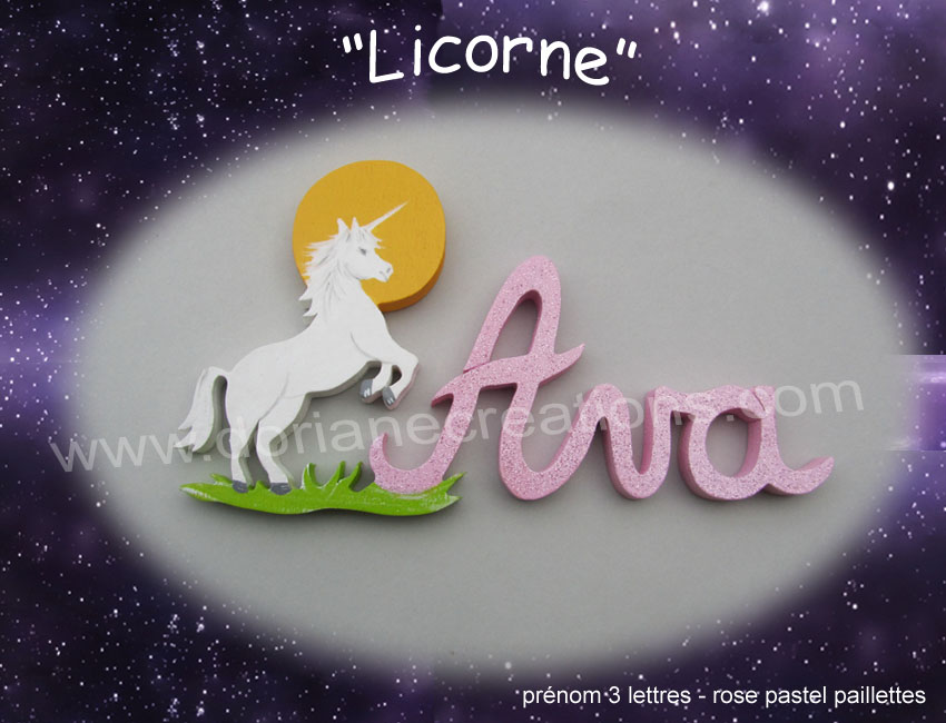 Plaque de porte licorne 3lettres 1
