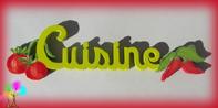 Plaque de porte mot cuisine lettres bois olives
