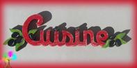 Plaque de porte mot cuisine lettres bois tomates et piments