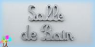 Plaque de porte mot salle de bain lettres bois simple