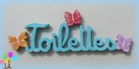 Plaque de porte mot toilettes lettres bois simple