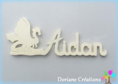 Prénom lettres bois naturel dragon