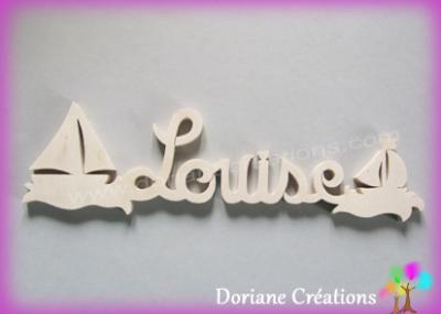 Prénom lettres bois naturel bateaux