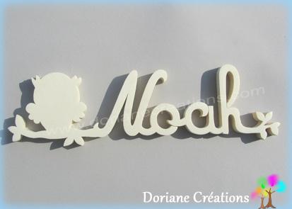 Plaque de porte prenom bois a peindre avec chouette