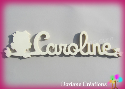 Plaque de porte prenom bois a peindre caroline avec chouette