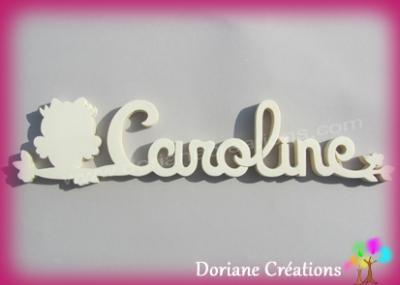 Prénom lettres bois naturel chouette/hibou