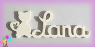 Plaque de porte prenom bois a peindre chat 1