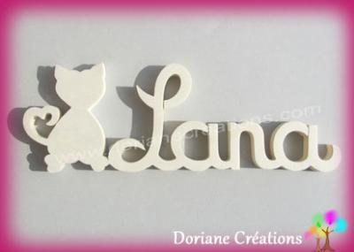 Prénom lettres bois naturel chat coeurs