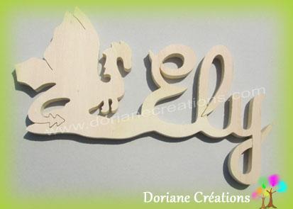 Plaque de porte prenom bois a peindre dragon 1