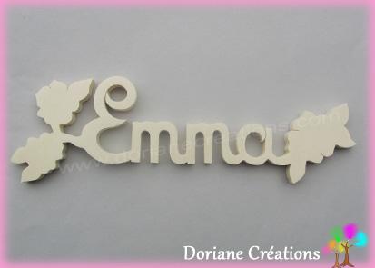 Plaque de porte prenom bois a peindre eglantines