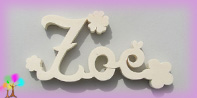 Plaque de porte prenom bois a peindre fleurs