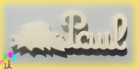 Plaque de porte prenom bois a peindre herisson