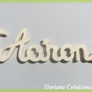 Plaque de porte prenom bois naturel a peindre aaron lune et etoiles