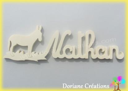 Plaque de porte prenom bois naturel a peindre avec ane