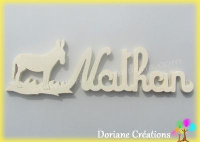 Prénom lettres bois naturel âne