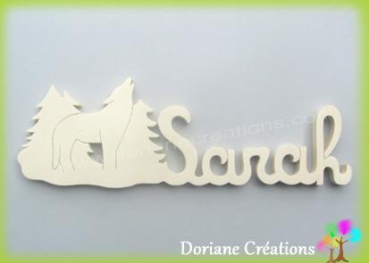 Plaque de porte prenom bois naturel a peindre avec loup