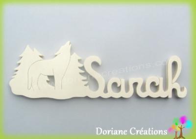 Prénom lettres bois naturel loup