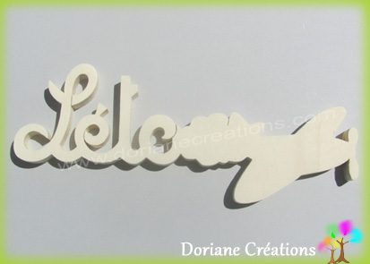 Plaque de porte prenom bois naturel a peindre avion