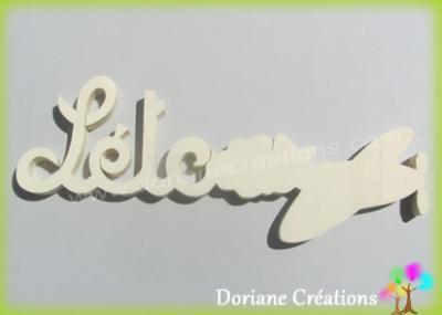 Prénom lettres bois naturel avion