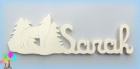 Plaque de porte prenom bois naturel a peindre loup