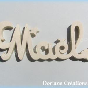 Plaque de porte prenom bois naturel a peindre lune et etoiles