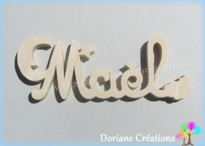 Prénom lettres bois naturel lune et étoiles