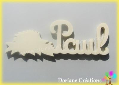 Prénom lettres bois naturel hérisson