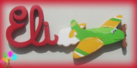 Plaque de porte prenom lettres bois avion