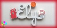 Plaque de porte prenom lettres bois basket ball