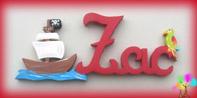 Plaque de porte prenom lettres bois bateau pirate et perroquet