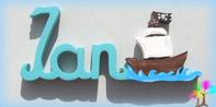 Plaque de porte prenom lettres bois bateau pirate
