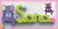 Plaque de porte prenom lettres bois deco doudou bebe et etoiles