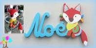 Plaque de porte prenom lettres bois deco doudou bebe