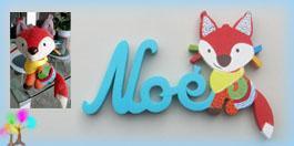 Plaque de porte prenom lettres bois doudou