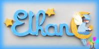 Plaque de porte prenom lettres bois elfe garcon