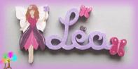Plaque de porte prenom lettres bois fee papillons