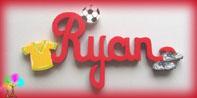 Plaque de porte prenom lettres bois football
