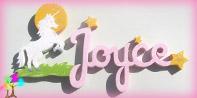 Plaque de porte prenom lettres bois licorne et etoiles